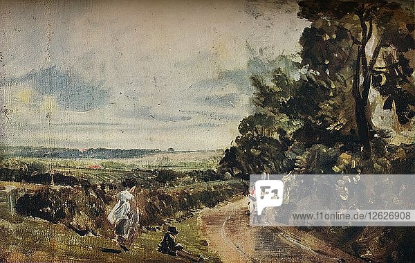 'A Country Road with Trees and Figures (recto); Willy Lotts House (verso)  c1830.'