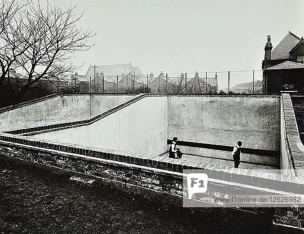 Boys playing in a fives court  Strand School  London  1914. Artist: Unknown.