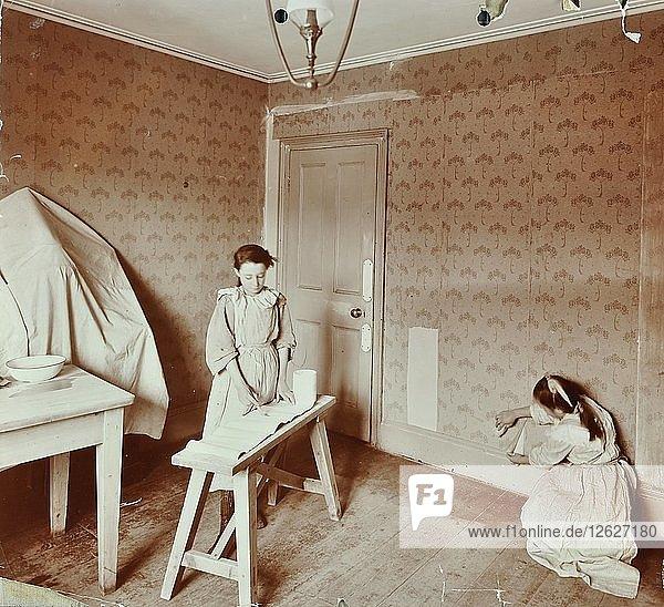 Housewifery lesson  Denmark Hill School  Dulwich  London  1908. Artist: Unknown.