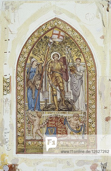 Design for the St George Mosaic with Marginal studies  1869. Artists: Edward John Poynter  St George.