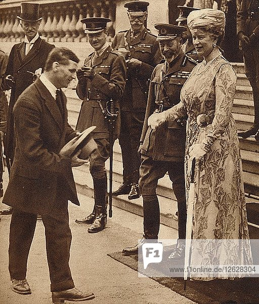 Bravery in civvies: laughs with the King and Queen  1920s or 1930s (1935). Artist: Unknown.