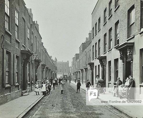 People in the street  Albury Street  Deptford  London  1911. Artist: Unknown.