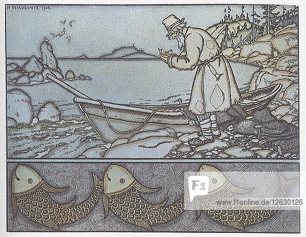 Illustration to the The Tale of the Fisherman and the Fish. Artist: Bilibin  Ivan Yakovlevich (1876-1942)