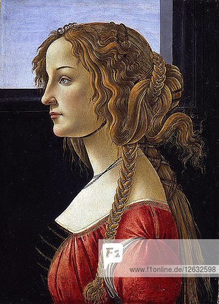 Profile Portrait of a Young Woman (Simonetta Vespucci)  ca 1476. Artist: Botticelli  Sandro (1445-1510)