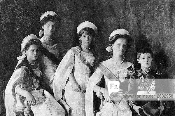 Children of Tsar Nicholas II of Russia  c1910. Artist: Unknown.
