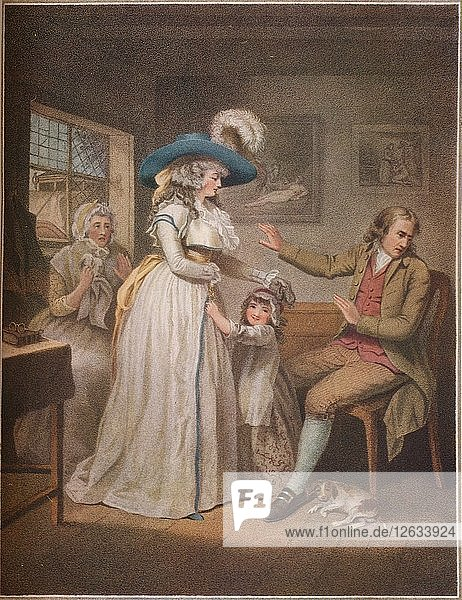 The Virtuous Parent. Laetitia Endeavours In Vain By Parents To Reconcile Her Parents 1789. Artist: John Raphael Smith.
