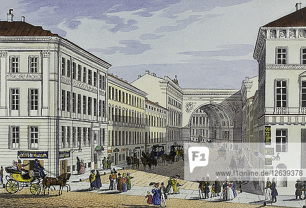 Millionnaya Street and Kotomin House in Saint Petersburg  First half of the 19th cent.. Artist: Beggrov  Karl Petrovich (1799-1875)
