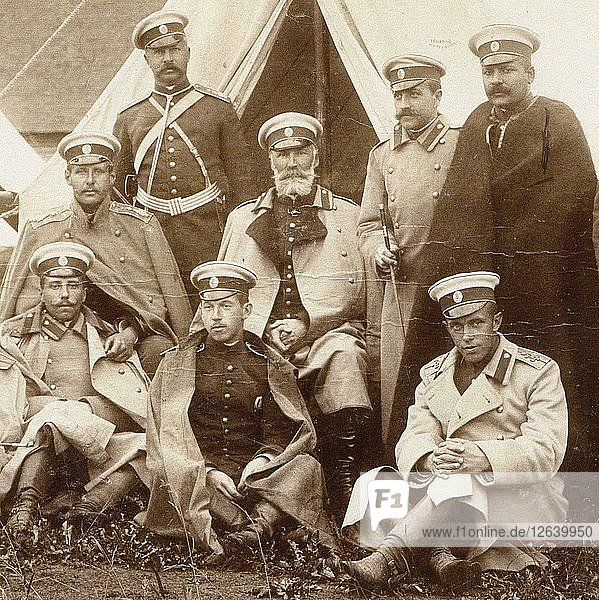 Nikolai Nikolaevich  prince Odoevsky-Maslov (in the middle) with the officers of the Life Guard Cava Artist: Anonymous