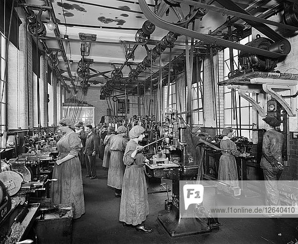 The Birmingham Small Arms factory  Small Heath  Birmingham  February 1917. Artist: Adolph Augustus Boucher.