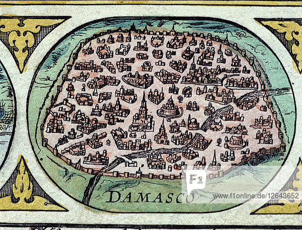 Damascus  colored engraving from the book Le Theatre du monde or Nouvel Atlas  1645  created ?