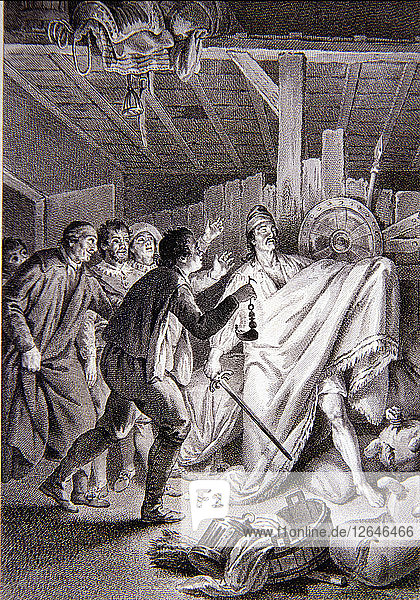 Illustration in the work Don Quixote of La Mancha  Madrid  Joaquin Ibarra  1780  edited by the ?