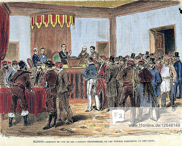 Opening of the ballot boxes of the polling places in 1871  colored engraving in La Ilustración E?