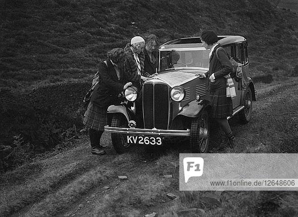Kitty Brunell road testing a Standard Little Twelve saloon  c1932. Artist: Bill Brunell.