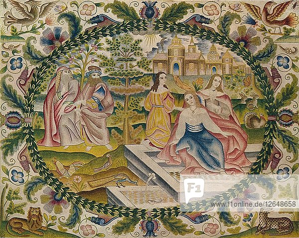 Embroidered Picture  Mid-17th Century  (1929). Artist: Unknown.