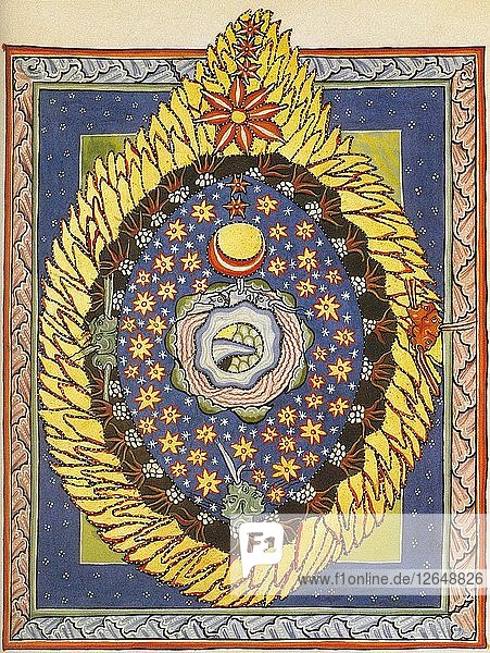 God  Cosmos  and Humanity. Miniature from Liber Scivias by Hildegard of Bingen  c. 1175.