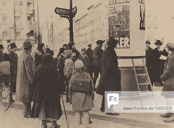 An election poster of the Nazi Party on the streets of Berlin  1932.