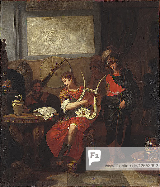 Achilles Playing a Lyre before Patroclus  1675-1680.