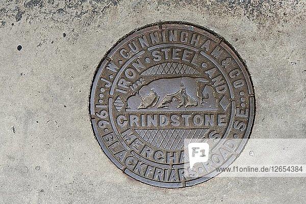Coal hole plate made by JW Cunningham & Co  Lower Marsh  Lambeth  London  2010. Artist: Derek Kendall.