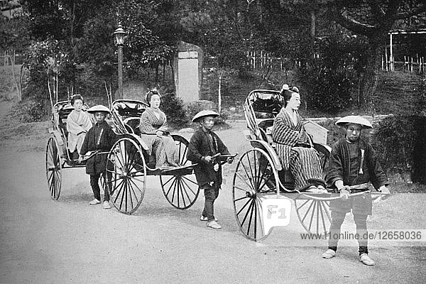 Japanese ladies in rickshaws drawn by coolies  1902. Artist: Unknown.