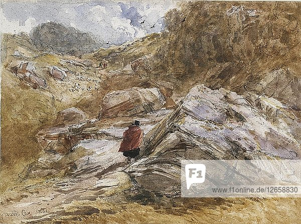 Mountain Pass at Bettws-y-Coed  1851. Artist: David Cox the elder.