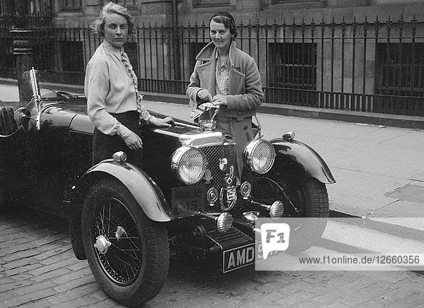 Aston Martin of Kitty Brunell at the RSAC Scottish Rally  1933. Artist: Bill Brunell.