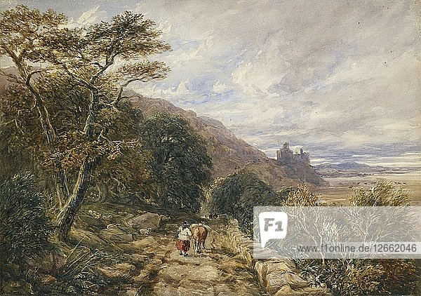 Country Track leading to Harlech Castle  1842. Artist: David Cox the elder.