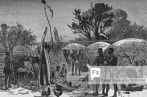 Interior of a Zuli Kraal on the Tugela River  c1880. Artist: Unknown.
