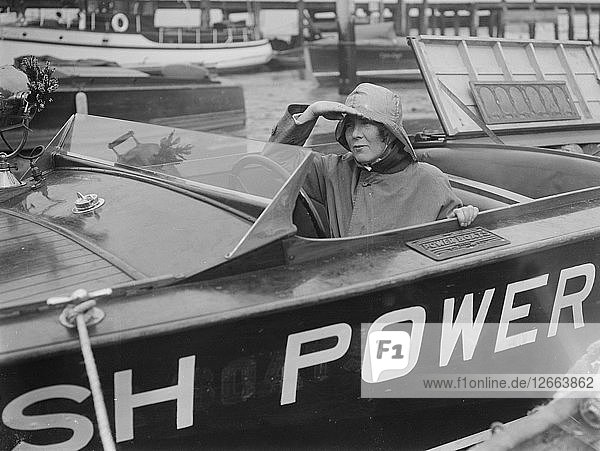 Kitty Brunell in a British Power Boat Company launch  Hythe  Hampshire  1927. Artist: Bill Brunell.