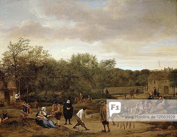 Peasants playing bowling  c. 1655.