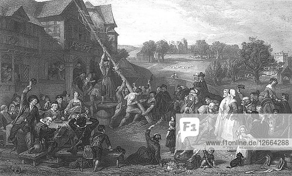 Raising the May Pole  c1862. Artist: E Goodall.