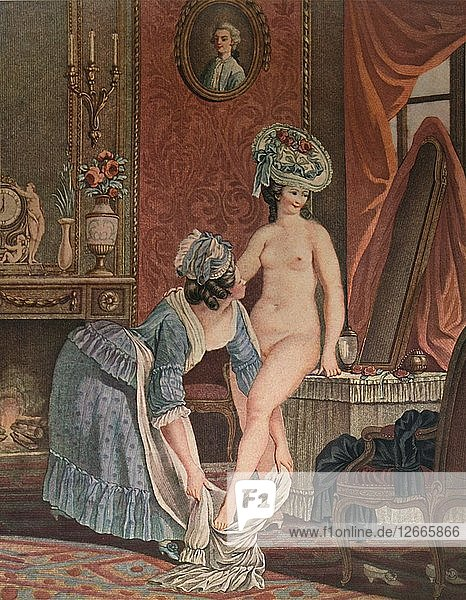 La Toilette  (Bathing)  c1765-1790  (1913). Artist: Louis Marin Bonnet.