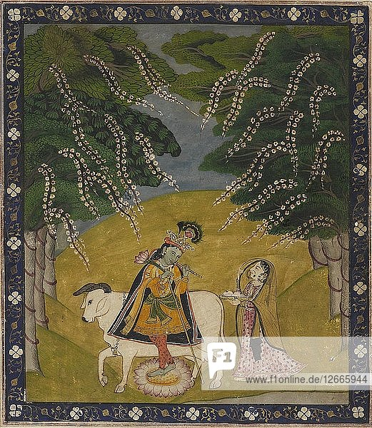 Krishna being offered cakes  19th-20th century. Artist: Unknown.