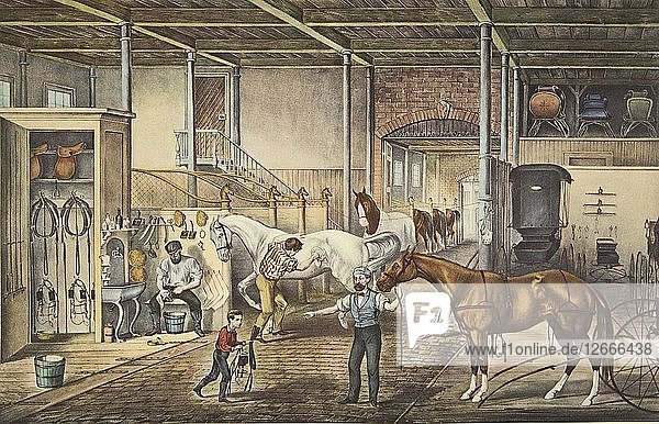 Trotting Cracks At Home  A Model Stable  pub. 1868  Currier & Ives (Colour Lithograph)