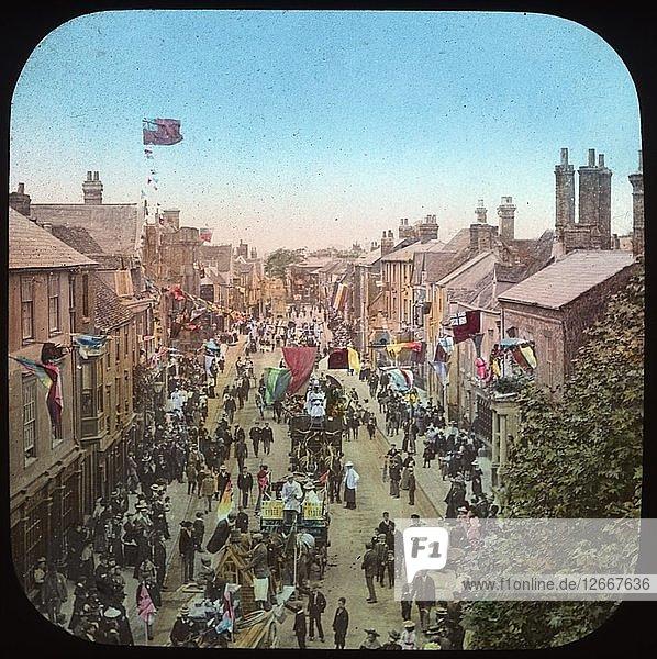 Parade commemorating Queen Victorias Diamond Jubilee  Ock Street  Abingdon  Oxfordshire  1897. Artist: Henry Taunt.