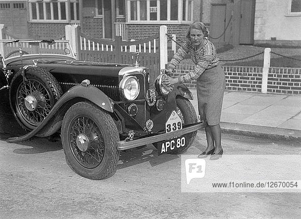 Kitty Brunell and her winning AC 4-seater tourer  RAC Rally  March 1933. Artist: Bill Brunell.