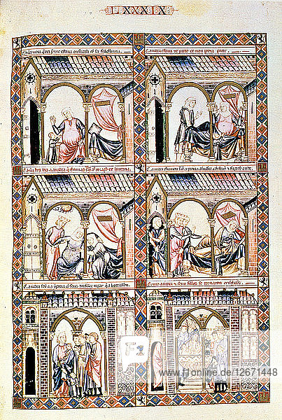 Cantiga LXXXIX: Esta é como ha judea estava de parto en coita de morte  e chamou Santa maria e l?
