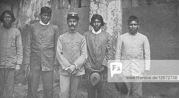 Tymbiras Indians of the State of Maranhao. Lt. Pedro Dantas and his Interpreters  1914. Artist: Unknown.