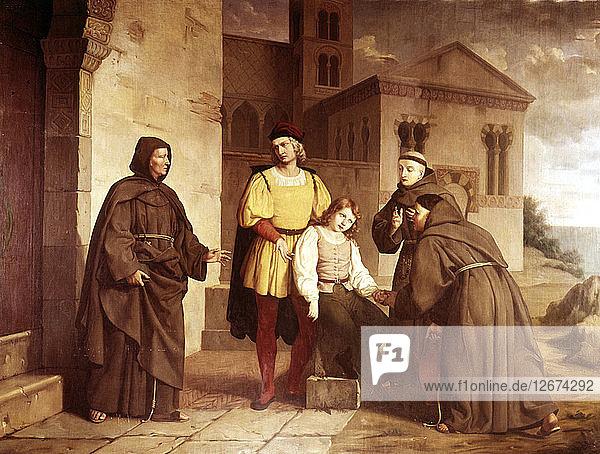 Columbus before the Monastery of La Rabida Christopher Columbus (1451-1506)  Genoese navigator.