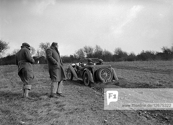 MG TA competing in the London Motor Club Coventry Cup Trial  Knatts Hill  Kent  1938. Artist: Bill Brunell.