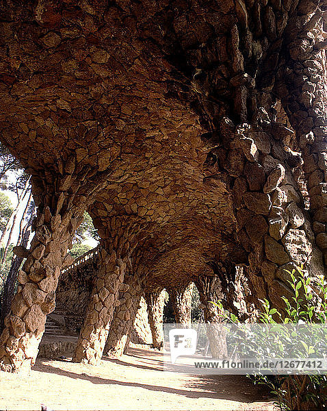 Detail of the columns walk in the Güell Park  designed by architect Antoni Gaudi between 1900/14.