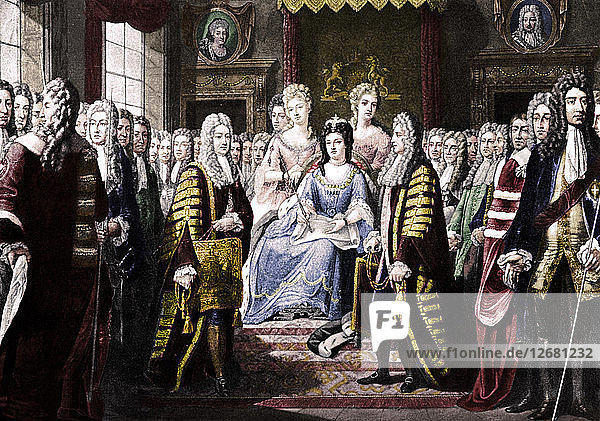 Articles of Union Presented by Commissioners to Queen Anne  1706. Artist: Unknown.