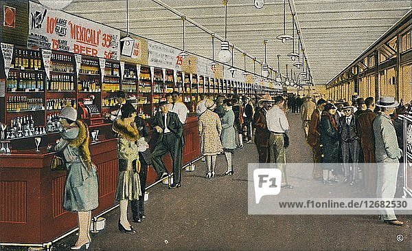 Mexicali Beer Hall  The Longest Bar in the World  c1939. Artist: Unknown.
