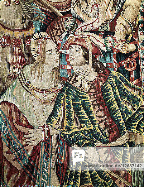 A Portuguese man and an Indian woman. Detail of a Flemish tapestry from Tournai  its part of ?