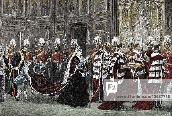 The royal procession in Westminster Palace on the way to the House of Lords  1886  (1900). Artist: Unknown.