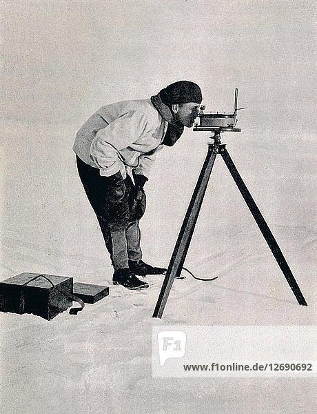 Lieut. Pennell with a Prismatic Compass  December 1910  (1913). Artist: Herbert Ponting.