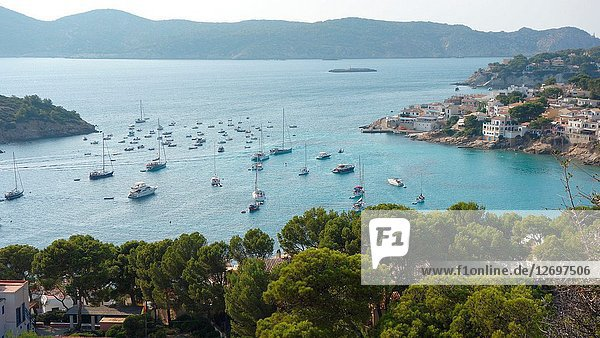 Partial view of Sant Elm  a small town in the municipality of Andratx  Majorca island  Spain  Europe.
