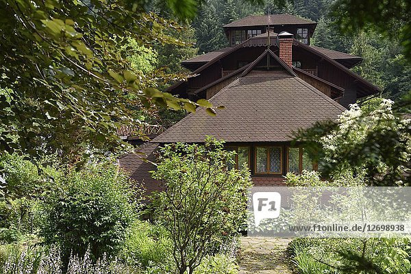 Villa Tadeusz  Guesthouse situated in the forest near the village of Lanckorona  renowned for its well preserved 19th century wooden houses  Malopolska Province (Lesser Poland)  Poland  Central Europe.