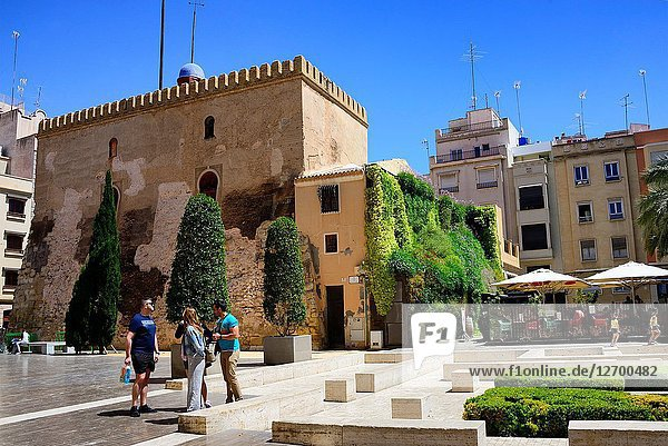 La Torre de la Calahorra - Tower of the Calahorra is fortress of Islamic origin conceived as a watchtower within its site as part of the defensive wall of the Andalusian period of Elche  here seen from Placa de Santa Isabel  historic center of Elche  Elche  Elx  Alicante province  Valencian Community  Costa Blanca  Spain  Europe