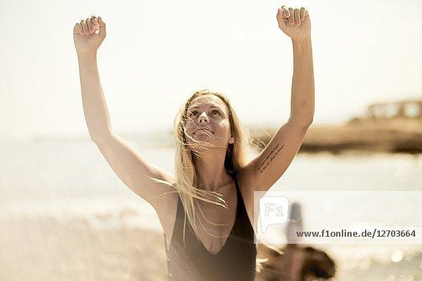 Woman at beach. Malia  Crete  Greece.
