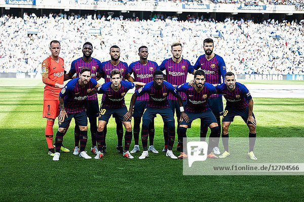 Barcelona players poses for the press in the Spanish League match between Real Sociedad and Barcelona